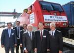 Zhengzhous Bürgermeister Ma Yi und Bahnchef Grube bei der Zeremonie in Hamburg © DB AG